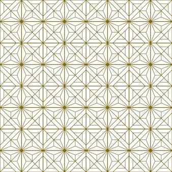 Japoński bezszwowy wzór kumiko w kolorze złotym z liniami średniej grubości.