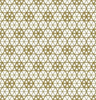 Japoński bezszwowy wzór kumiko w złotej sylwetce z grubymi liniami.