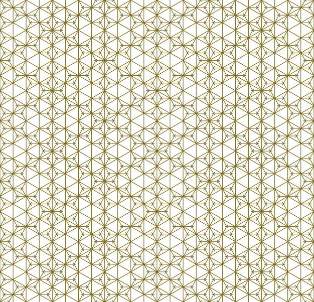 Japoński bezszwowy wzór kumiko w złotej sylwetce z liniami średniej grubości.