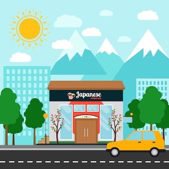 Japoński budynek restauracyjny i krajobraz