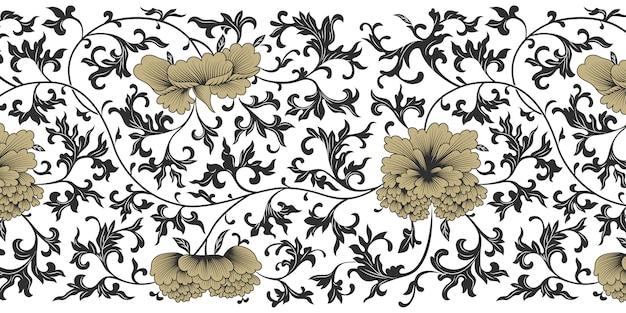 Japoński czarny, złoty i biały transparent tło.