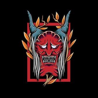 Japoński diabeł z ramą liścia do projektowania i nadruku koszulki