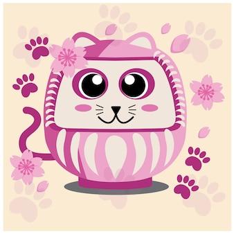 Japoński kot, kwiat sakury i różowa stopa