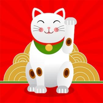 Japoński Kot Szczęśliwy Lub Kot Maneki Neko Premium Wektorów