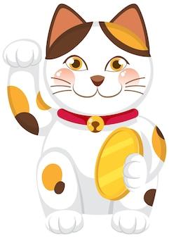 Japoński kot szczęśliwy maneki neko postać z kreskówki na białym tle