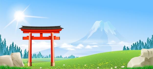 Japoński krajobraz z bramą tori