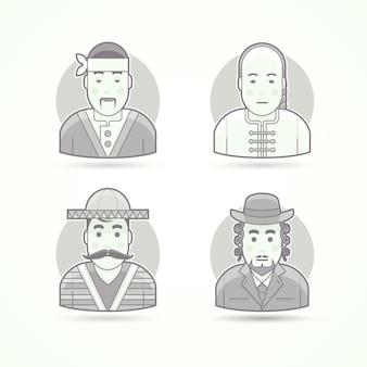 Japoński kucharz, azjatycki wódz, obywatel meksyku, żydowski ortodoks. zestaw ilustracji postaci, awatarów i osób. czarno-biały styl konturowy.