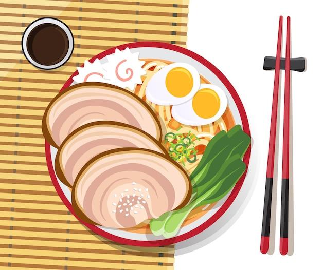 Japoński makaron ramen, tradycyjna azjatycka zupa z makaronem, ilustracja.