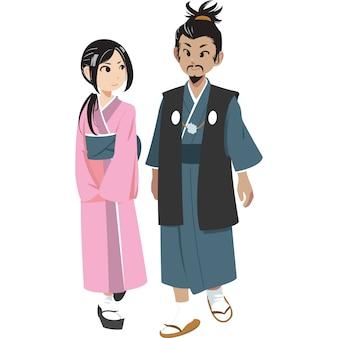 Japoński mężczyzna i kobieta w tradycyjnej odzieży odizolowywającej na białym tle.