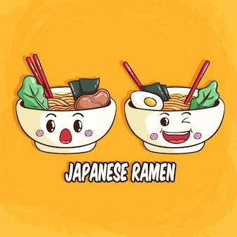 Japoński ramen lub makaron z twarzą i wyrazem kawaii