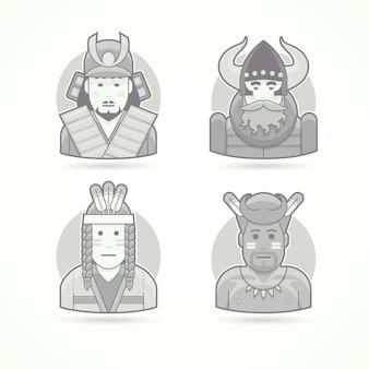 Japoński samuraj wojownik, wiking, czerwony indianin, rdzenni afrykańscy aborygen. zestaw ilustracji postaci, awatarów i osób. czarno-biały styl konturowy.