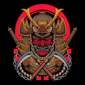 Japoński samuraj wojownik z kataną