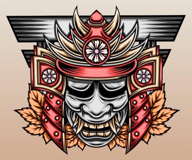 Japoński samuraj z maską hannya.