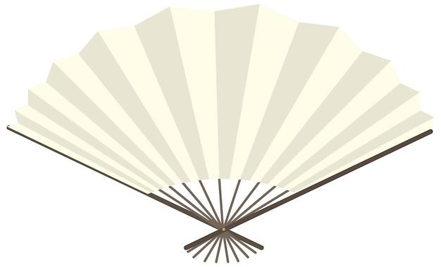 Japoński składany wentylator lub wentylator ręczny na białym tle