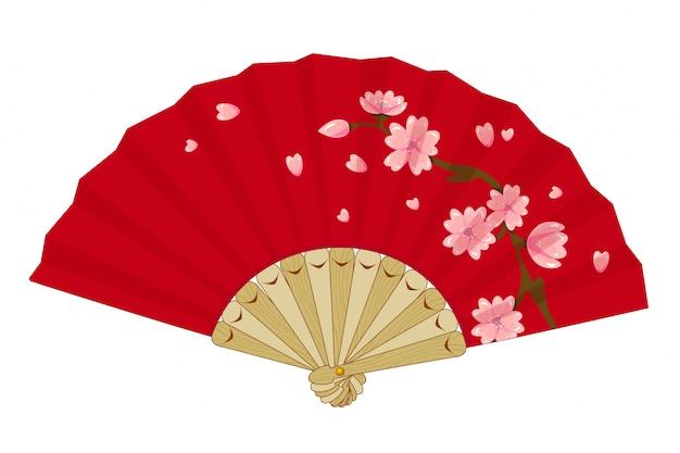 Japoński składany wentylator vintage z sakurą