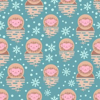 Japoński śnieg małpy wzór