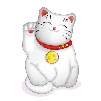 Japoński statuetka biały kot maneki neko.