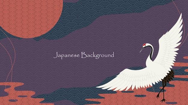 Japoński styl azjatycki dekoracyjny wzór tła wektor premium