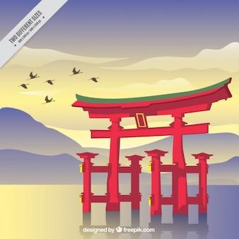 Japoński świątynia krajobrazu