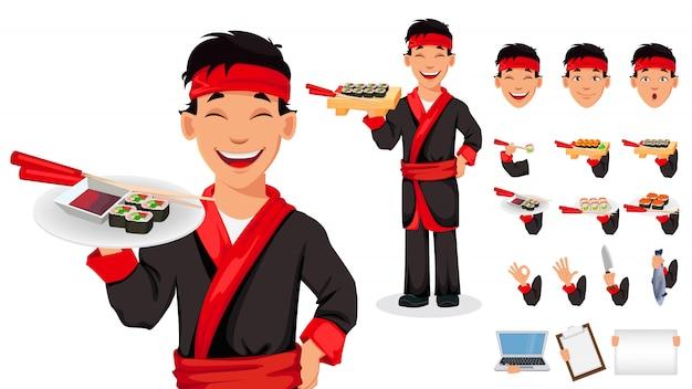 Japoński szef kuchni gotowanie sushi rolki
