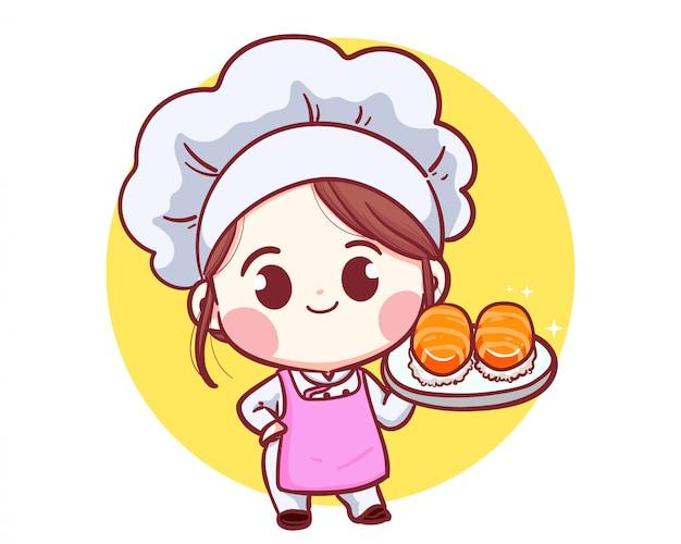 Japoński szef kuchni z słodkie sushi ilustracja logo.