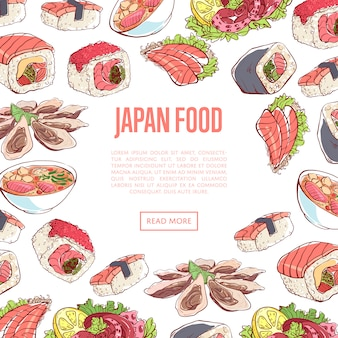 Japoński sztandar żywności z daniami kuchni azjatyckiej