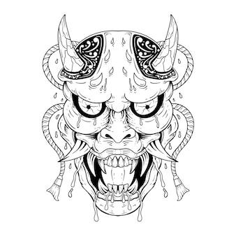Japoński tatuaż oni diabeł kot samuraj maska na białym tle dekoracja