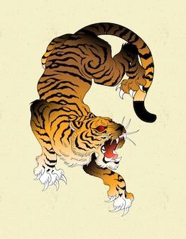 Japoński tatuaż tygrysa