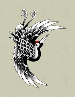 Japoński tatuaż żurawia