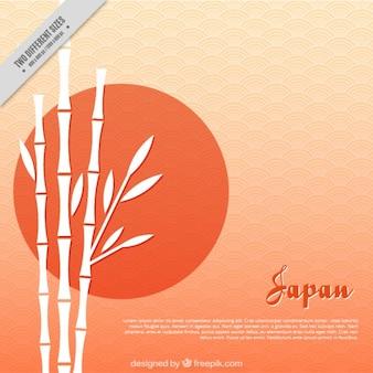 Japoński tła, zachód słońca z bambusa