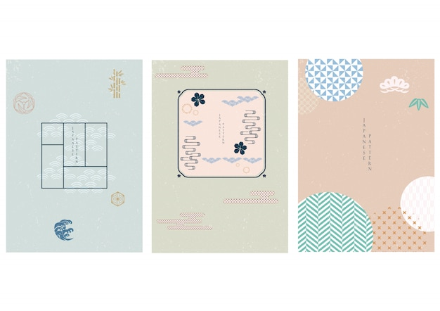 Japoński tło z geometrycznym wzorem. streszczenie szablon w stylu azjatyckim.