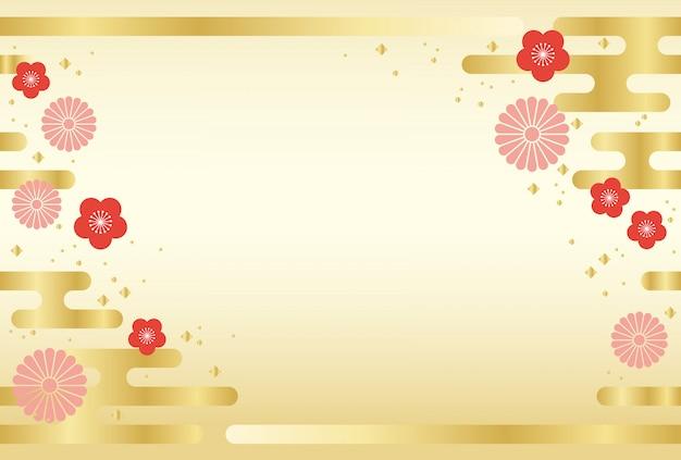 Japoński tło z tradycyjnymi kwiatami i chmurami