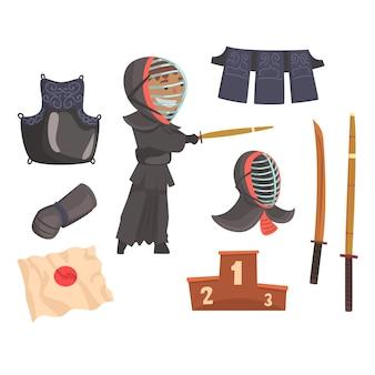 Japoński wojownik, pancerz i wyposażenie sztuk walki mieczem kendo. współczesna japońska sztuka walki. cartoon szczegółowe kolorowe ilustracje