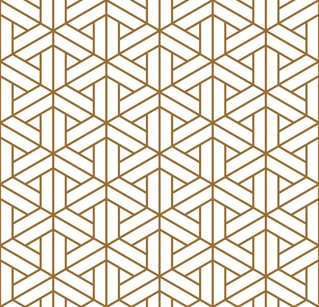 Japoński wzór shoji kumiko w kolorze złotym.