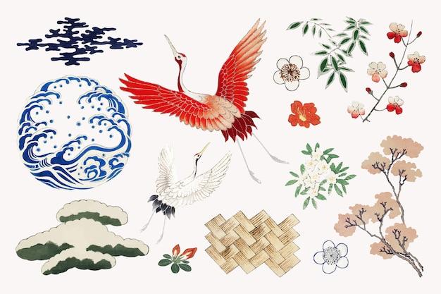 Japoński zestaw elementów ozdobnych z kamonu, remiks grafiki z oryginalnego wydruku autorstwa watanabe seitei