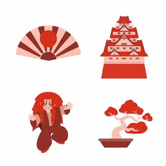 Japoński zestaw kabuki z zamkiem i odtwarzaczem bonsai vector
