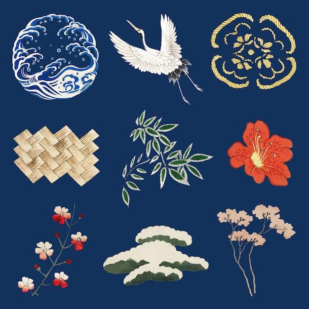 Japoński zestaw ozdobnych elementów kamon, remiks grafiki z oryginalnego druku autorstwa watanabe seitei