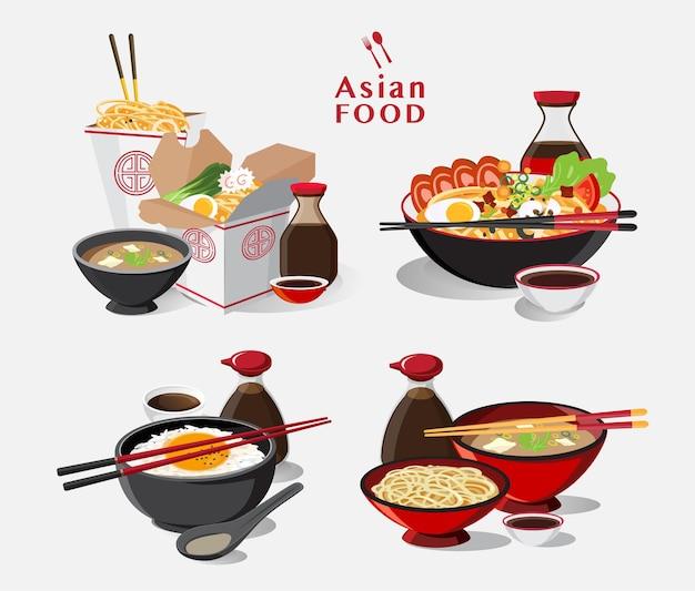 Japoński zestaw żywności, ramen na misce, zupa makaronowa, pudełko na wynos, ilustracja