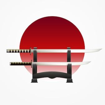 Japońskie dopasowane pary tradycyjnych mieczy na czerwonym kółku