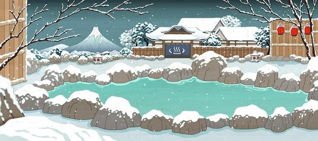 Japońskie gorące źródła w stylu ukiyo-e pokryte śniegiem