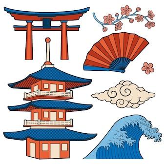 Japońskie ilustracje wektorowe kreskówka na białym tle