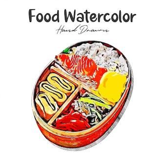 Japońskie jedzenie akwarela ręcznie rysowane ilustracja na białym tle