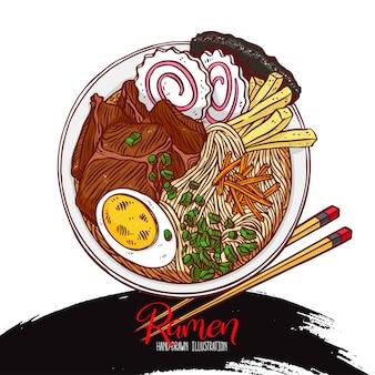 Japońskie jedzenie. apetyczny kolorowy ramen. ręcznie rysowane ilustracji