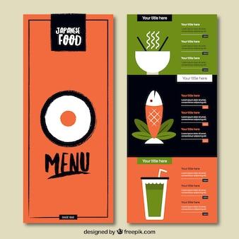 Japońskie jedzenie menu w kolorach