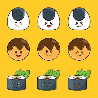 Japońskie jedzenie, onigiri, zestaw ilustracji kreskówki sushi