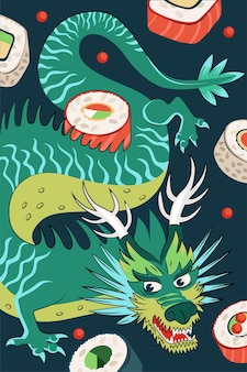Japońskie jedzenie rolek plakat projekt rysowane ręcznie. japońskie danie narodowe ryż i surowe owoce morza. baner reklamowy bar sushi. menu restauracji azjatyckiej lub dekoracja ulotki z błękitnym smokiem. ilustracja wektorowa
