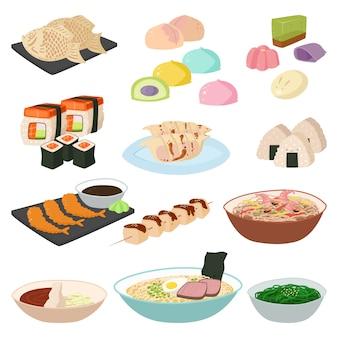 Japońskie jedzenie sushi azjatycki ryż z rybą tradycyjny zestaw dań i zdrowe owoce morza rolki łosoś kuchnia wyśmienita pyszne