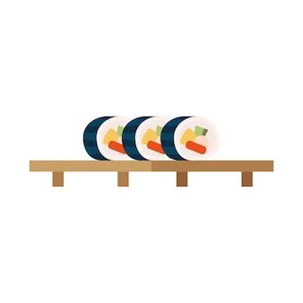 Japońskie jedzenie sushi w drewnianej desce?