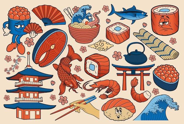 Japońskie jedzenie wektor clipart w stylu kreskówki