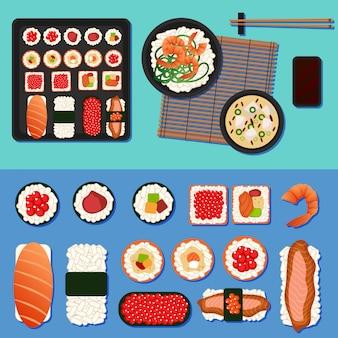 Japońskie jedzenie. zestaw sushi z różnymi rolkami, zupą i ryżem
